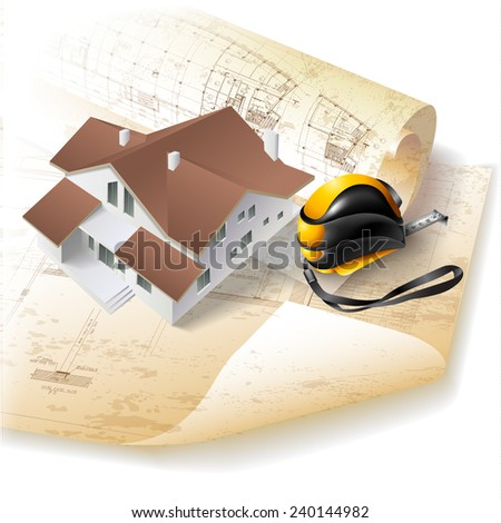 Grunge architectural background with a building model. Part of architectural project, architectural plan, technical project, architecture planning on paper, construction plan - stock vector