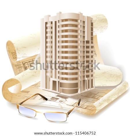Grunge architectural background with a 3D building model and rolls of technical drawings. Part of architectural project. Vector clip-art - stock vector