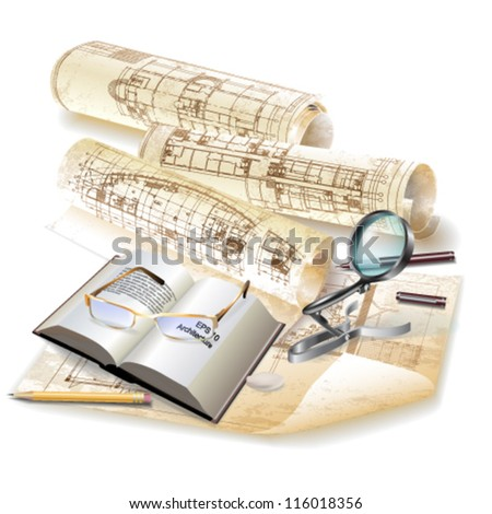 Grunge architectural background with drawing tools and rolls of drawings. Vector clip-art