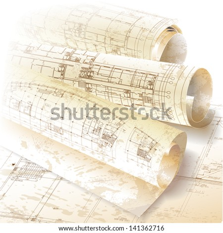 Grunge architectural background with rolls of drawings - stock vector
