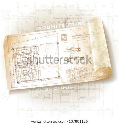 Grunge architectural background with rolls of drawings. Vector clip-art