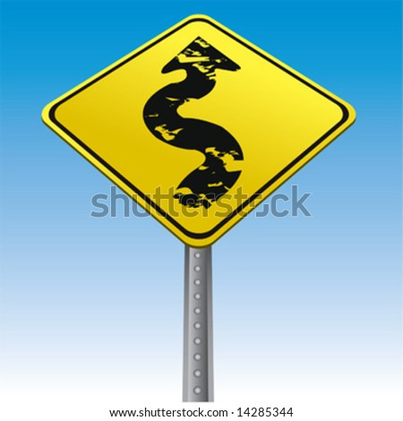 Grunge arrow traffic sign vector - stock vector
