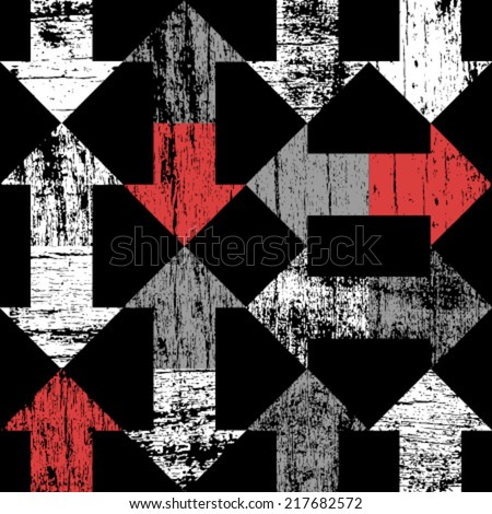 grunge arrows on black seamless pattern - stock vector