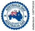 Grunge Australia day rubber stamp on white, vector illustration - stock