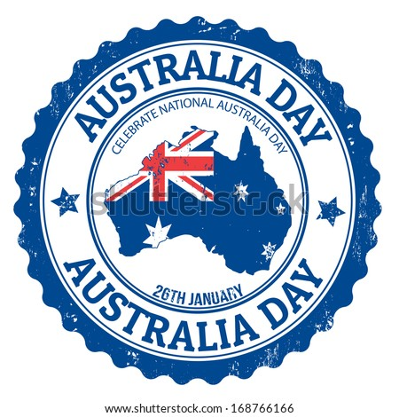 Grunge Australia day rubber stamp on white, vector illustration - stock vector