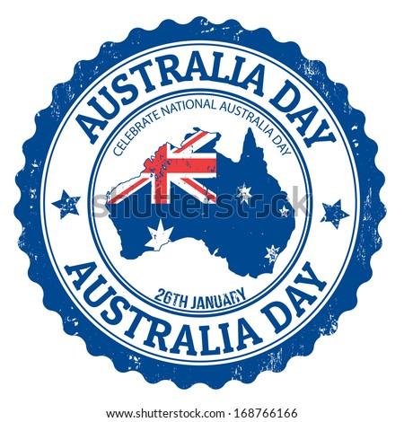 Grunge Australia day rubber stamp on white, vector illustration - stock vector