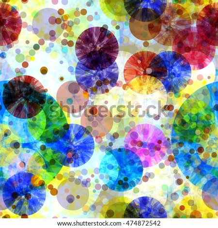 Grunge background. Circles. Overlapping, transparent, overlay. Randomly mixed. Colorful seamless abstract pattern. For fabric, printing and packaging paper.