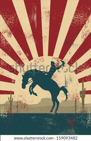 Grunge background, cowboy riding wild horse, vector - stock vector