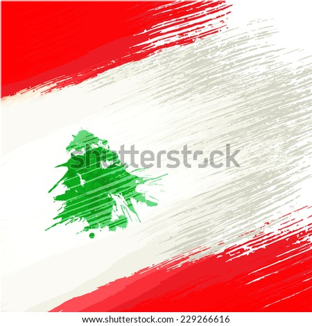 Grunge background in colors of lebanese flag - stock vector