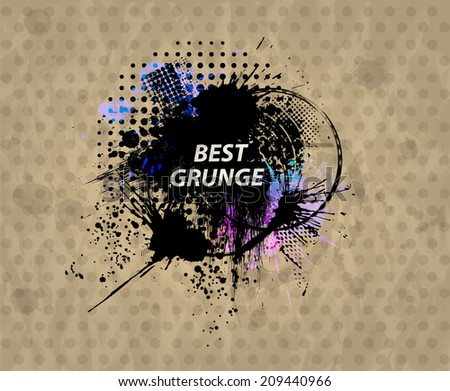 Grunge background with a colorful rainbow ink splat effect on retro paper - stock vector