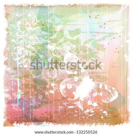 grunge background with butterfly and flowers - stock vector
