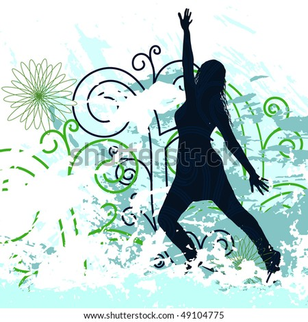 Grunge Background with dancing girl on  Posters