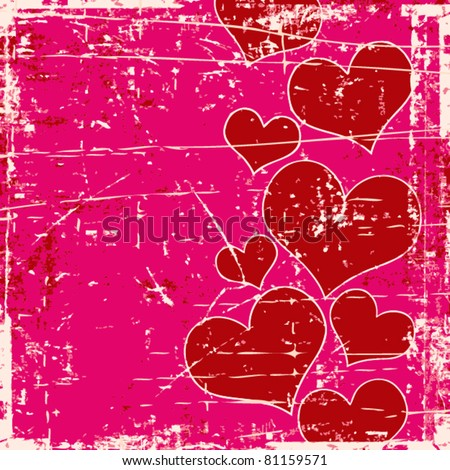 Grunge background with different hearts - stock vector