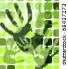 Grunge background with hand prints on squares. Vector illustration - stock vector