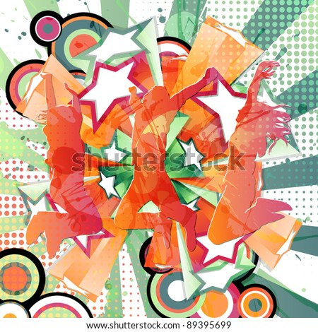 Grunge background with happy people jumping. - stock vector
