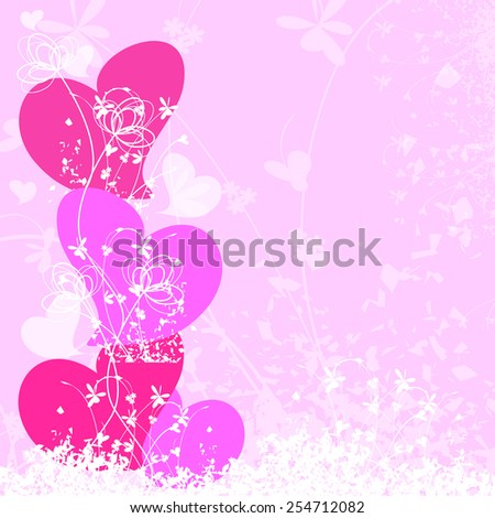 Grunge background with heart and floral--Vector illustration