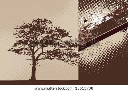 Grunge background with oak tree silhouette - stock vector