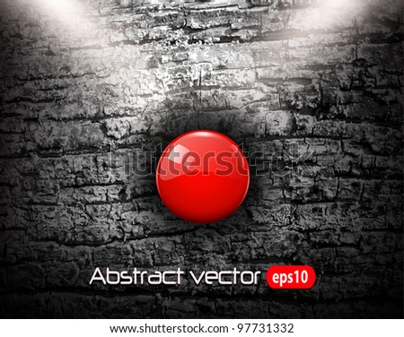 Grunge background with red alarm button, vector illustration. - stock vector