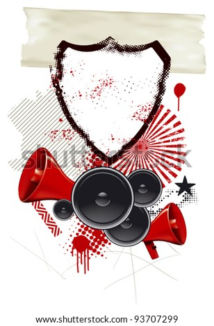 grunge background with shield speakers and megaphone - stock vector