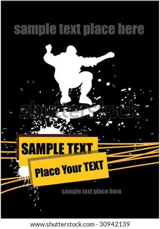 Grunge background with skateboarder. Vector - stock vector