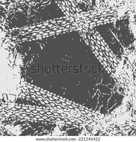 Grunge background with tire tracks - stock vector