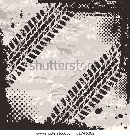 Grunge background with tire tracks and place for text
