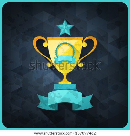 Grunge background with trophies and awards. - stock vector