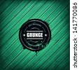 Grunge banner on green wooden plank background. Realistic wood texture.Vector illustration.  - stock photo