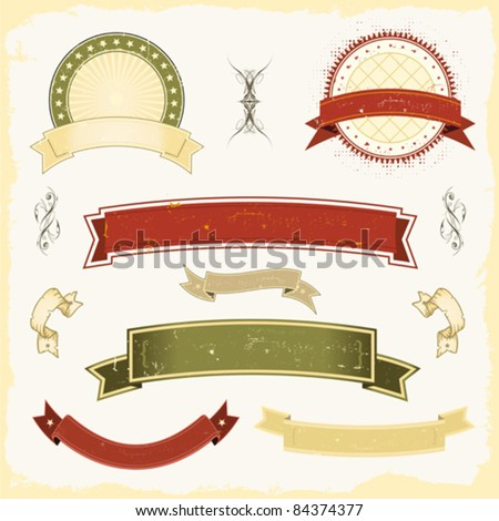 Grunge Banner Set/ Illustration of a collection of design grunge vintage banners, labels, seal stamper. All elements are on separated layers so you can easily select and edit them - stock vector