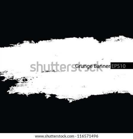 Grunge banner with an inky dribble strip - stock vector