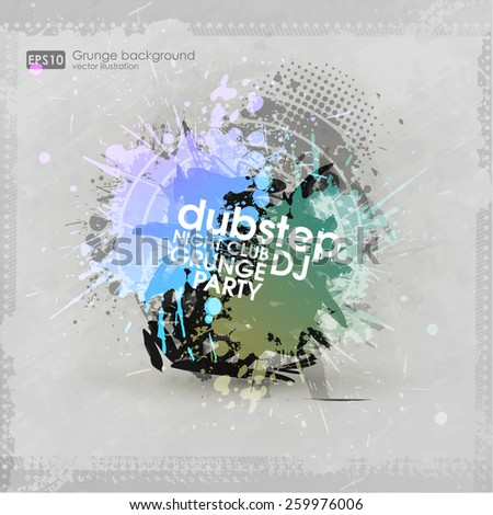 Grunge banner with an inky dribble strip with copy space. Abstract background for party. New creative grunge print for t-hirt, poster, brochure. night club paty - stock vector