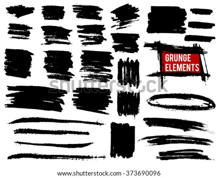 Grunge banners and brush strokes set. Vector grunge elements  - stock vector