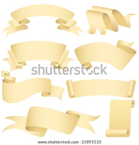 Grunge banners and scroll set (vector, CMYK) - stock vector