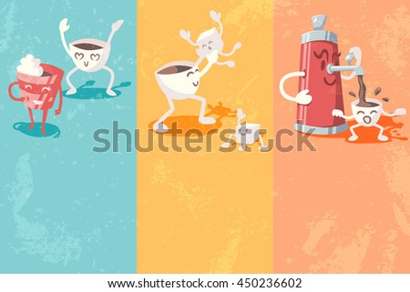Grunge banners with cute coffee cup. Vector illustration.