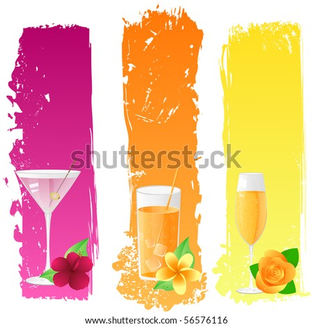 Grunge banners with martini, juice, champagne and flowers - stock vector