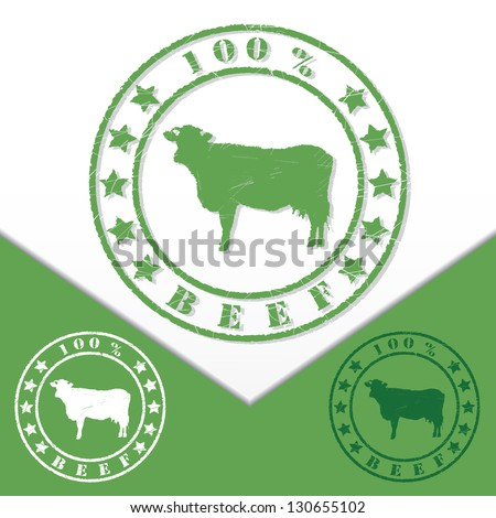 Grunge beef stamp - vector illustration - stock vector