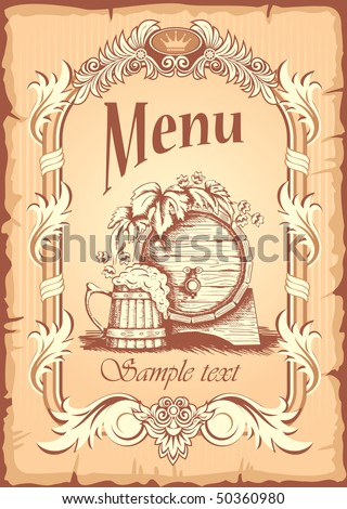 Grunge beer banner in old, antique style, vector - stock vector