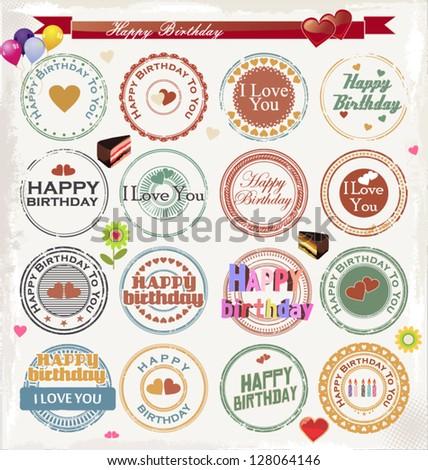 Grunge birthday rubber stamp - stock vector