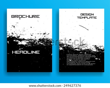 Grunge Black and White Distress Texture . Scratch Texture . Dirty Texture . Wall Background .Vector Illustration. Set of Brochure Templates. Collection of Flyer Design . Abstract Modern Background . - stock vector