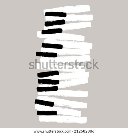 Grunge black and white piano keys - stock vector