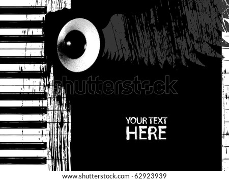 Grunge black and white piano keys and speaker with copyspace - stock vector