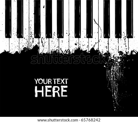 Grunge black and white piano keys with copy space - stock vector