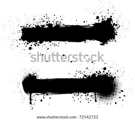 Grunge black banners for yours designs - stock vector