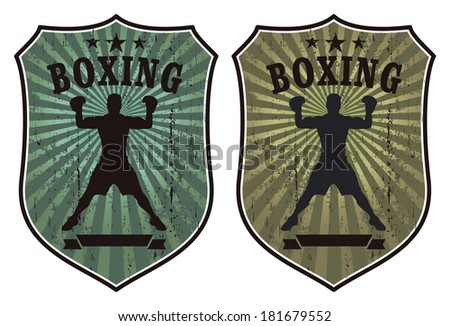 grunge boxing shields with fighter - stock vector