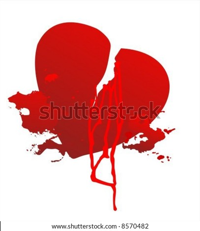 Grunge broken heart and blood on a white background. - stock vector