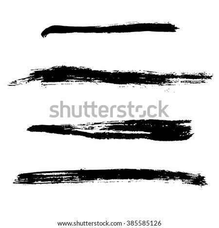 Grunge Brush Stroke . Vector Brush Stroke . Distressed Brush Stroke . Black Brush Stroke . Modern Textured Brush Stroke . Dry Brush Stroke . set - stock vector