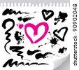 grunge brush strokes, blots, hand drawn hearts - stock vector