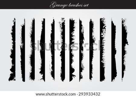 Grunge brush strokes set.Grunge edges,grunge borders.Vector design template. - stock vector