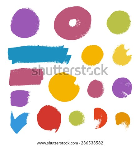 Grunge brush vector set.Abstract texture with flat color