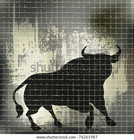Grunge Bull Vector Background - stock vector